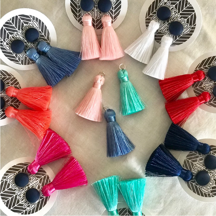 Bezel Set Tassel Earrings