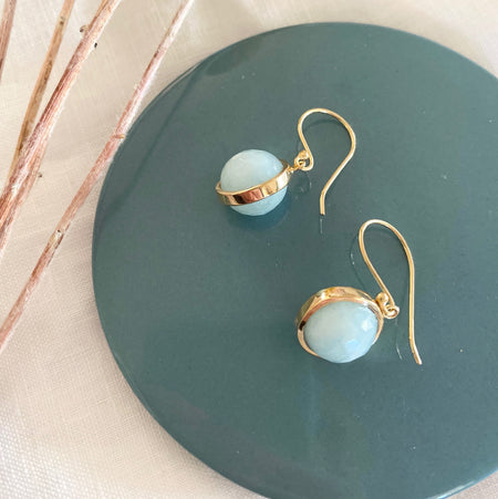 Gold Plated Aquamarine Ball Earrings 010
