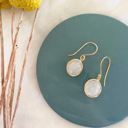 Gold Plated Pink Quartz Ball Earrings 011