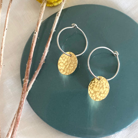 Sterling Silver & Gold Coin Earring's Earrings 008