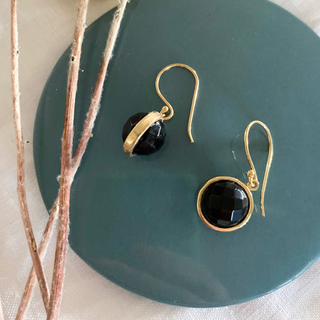 Gold Plated Black Onyx Ball Earrings 009