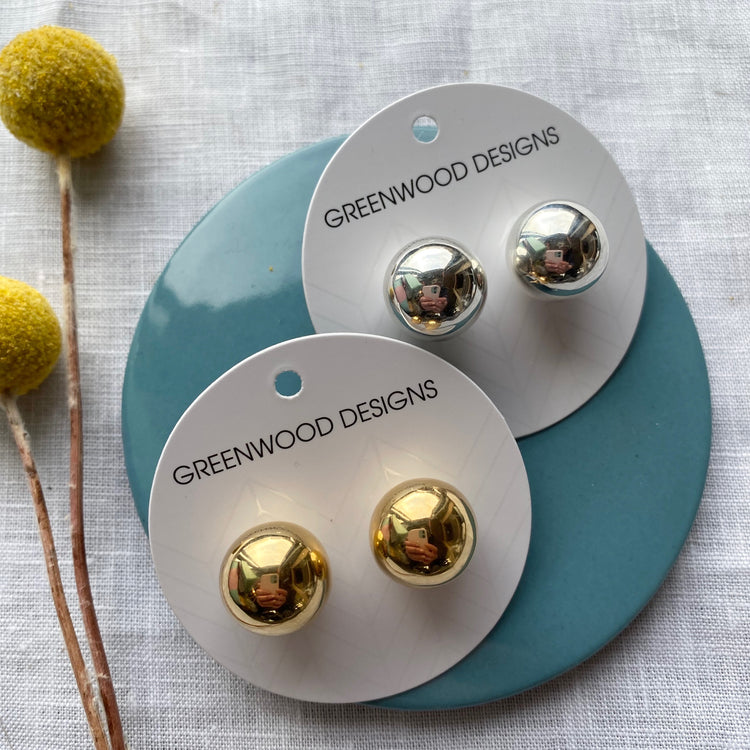 Sterling Silver/Gold Ball Earring's 031