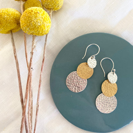 Sterling Silver Trio Hammered Coin Earrings 015