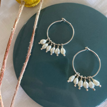 Sterling Silver Pearl Hoop Earrings 016