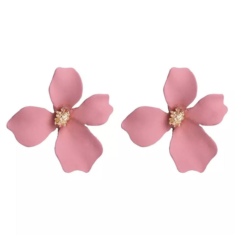 Small Pink Flower Earrings