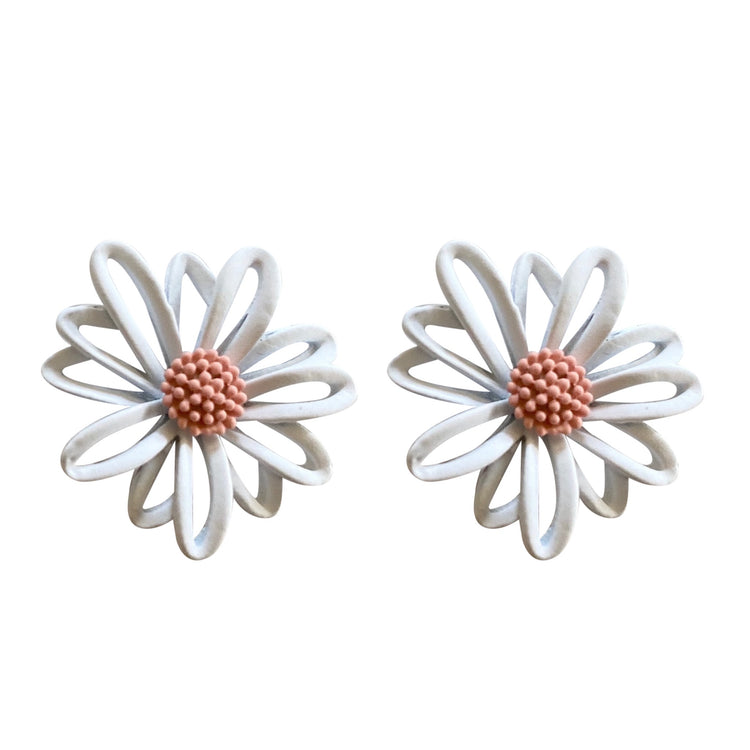 Small Flower Earrings White & Pink