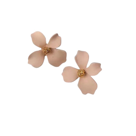 Small Flower Earrings Beige