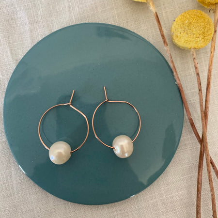 Rose Gold Plated (sterling silver) Small Freshwater Pearl Hoop Earrings