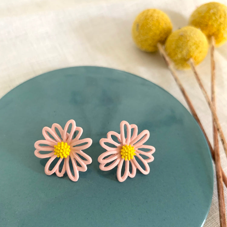 Small Flower Earrings Pink & Yellow