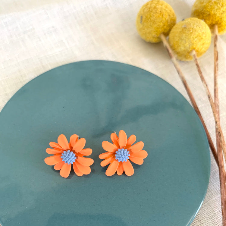Small Flower Earrings Coral & Blue