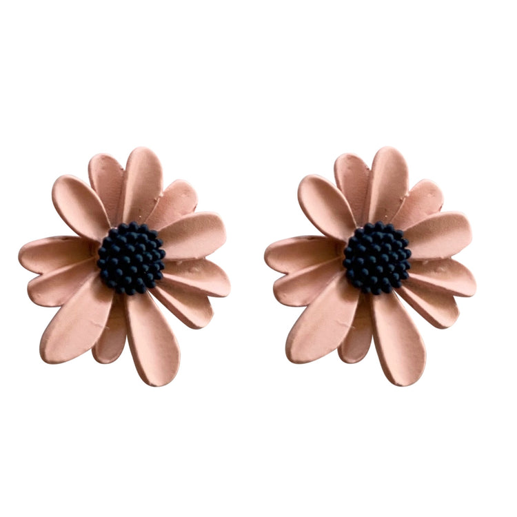 Small Flower Earrings Pink & Navy