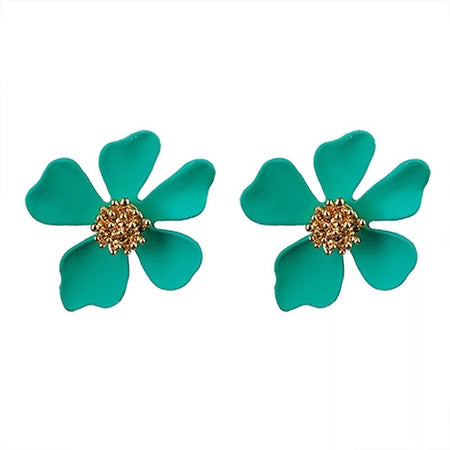 Small Flower Earrings Aqua