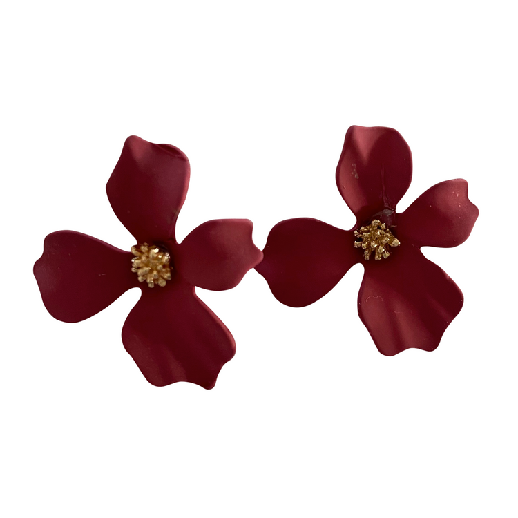 Small Burgundy Flower Earrings