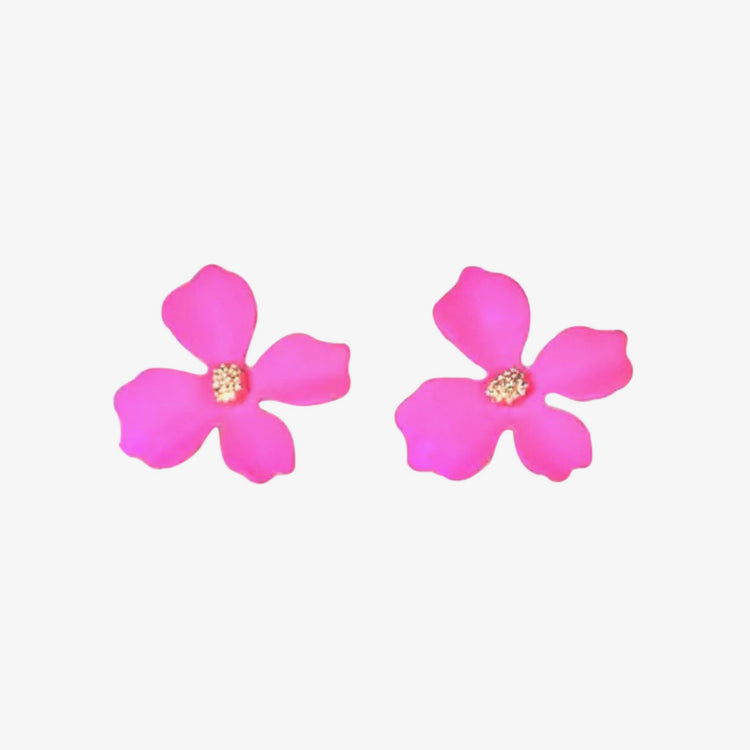 Small Hot Pink Flower Earrings