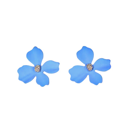 Small Flower Earrings Blue