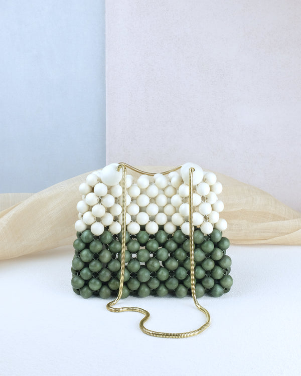 Two tone white and gray handmade wood woven beads cross body handbag bag with snake chain