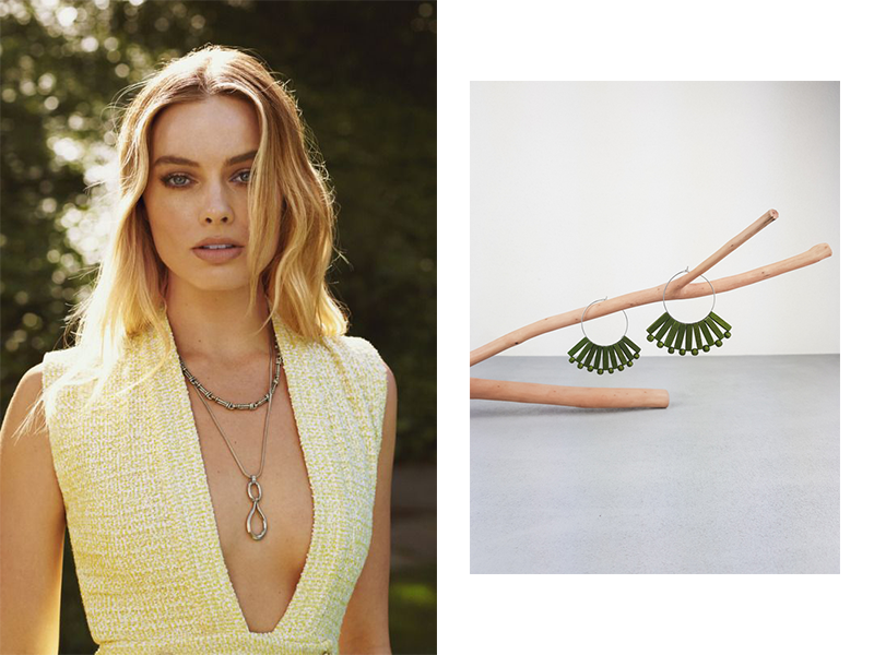 Square shaped face Margot Robbie and Moy earrings