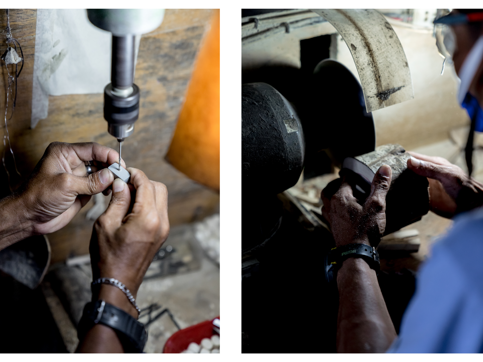 Artisans polishing and creating wooden beads for jewelry