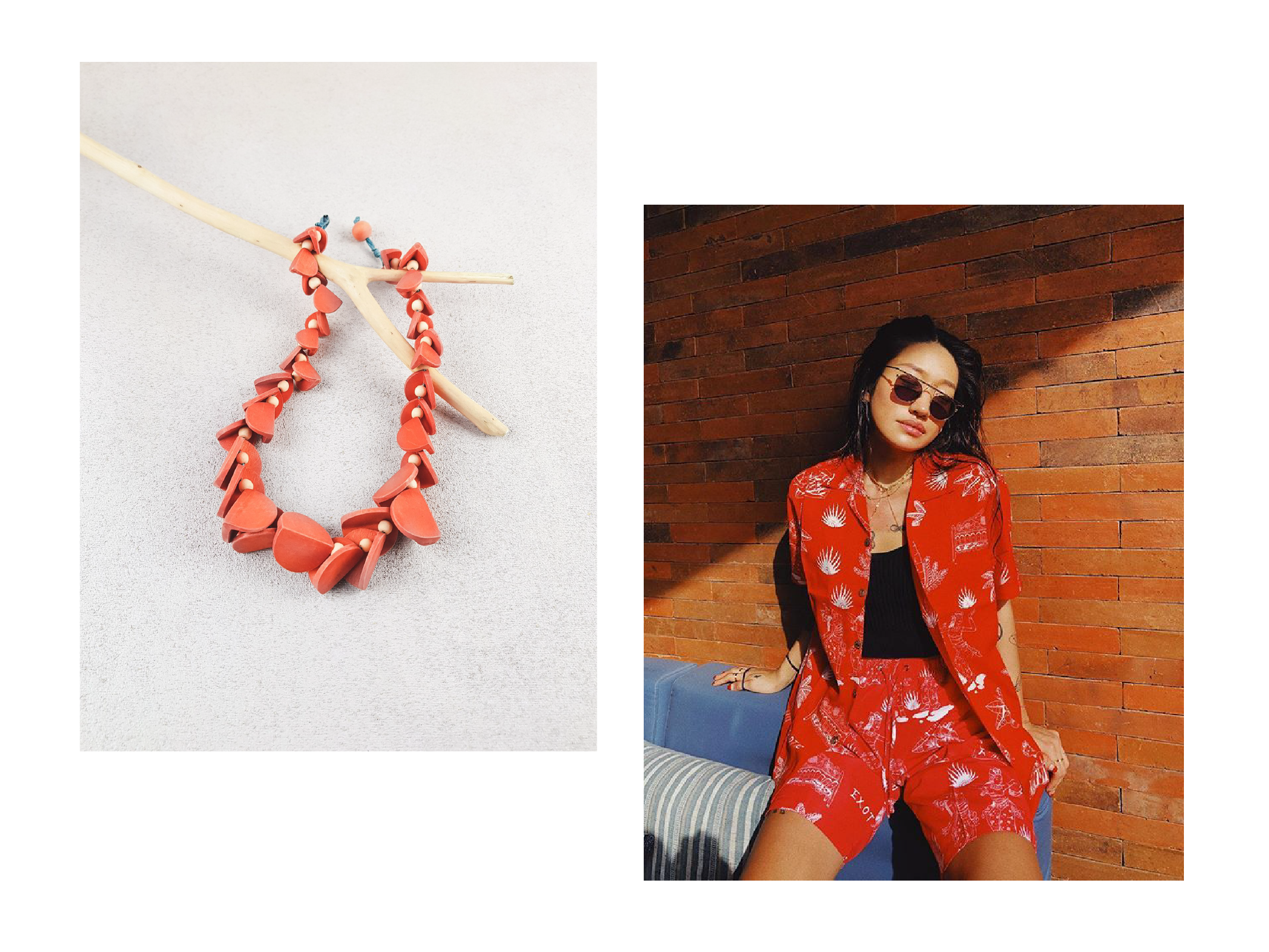 Peggy gou wearing red terno set with moy wooden necklace