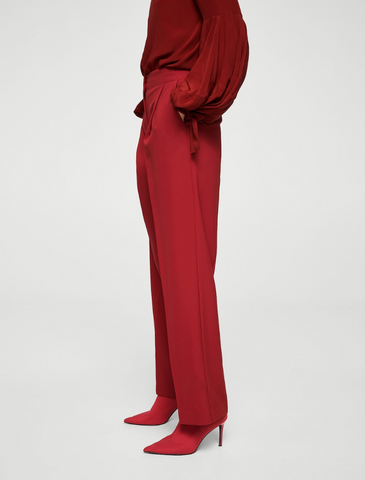 Mango Pleat Textured Trousers Red
