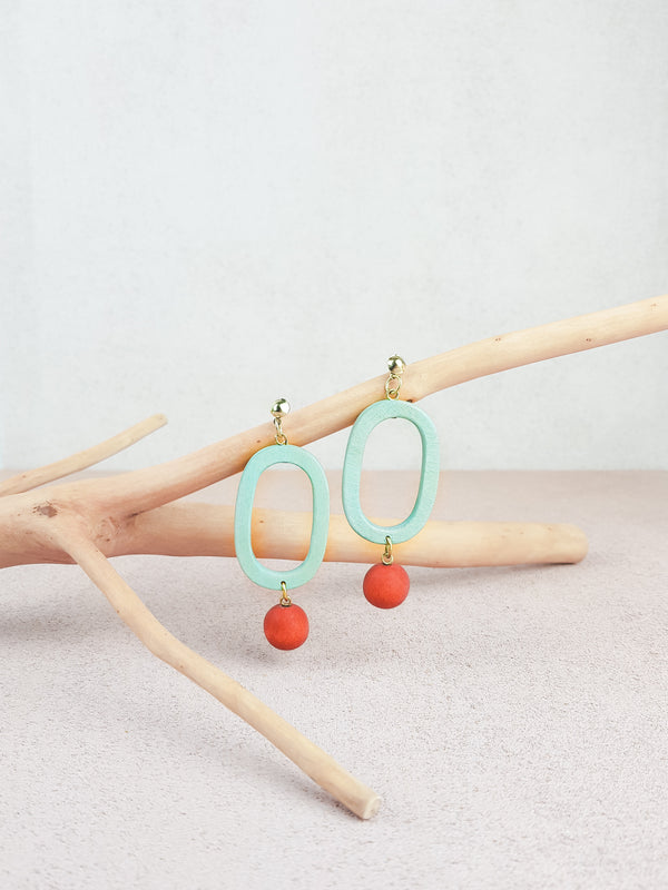 Mint and red handmade wood ear post statement tropical earrings