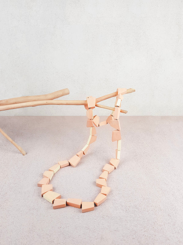 Pink and natural handmade wood geometric shape long necklace