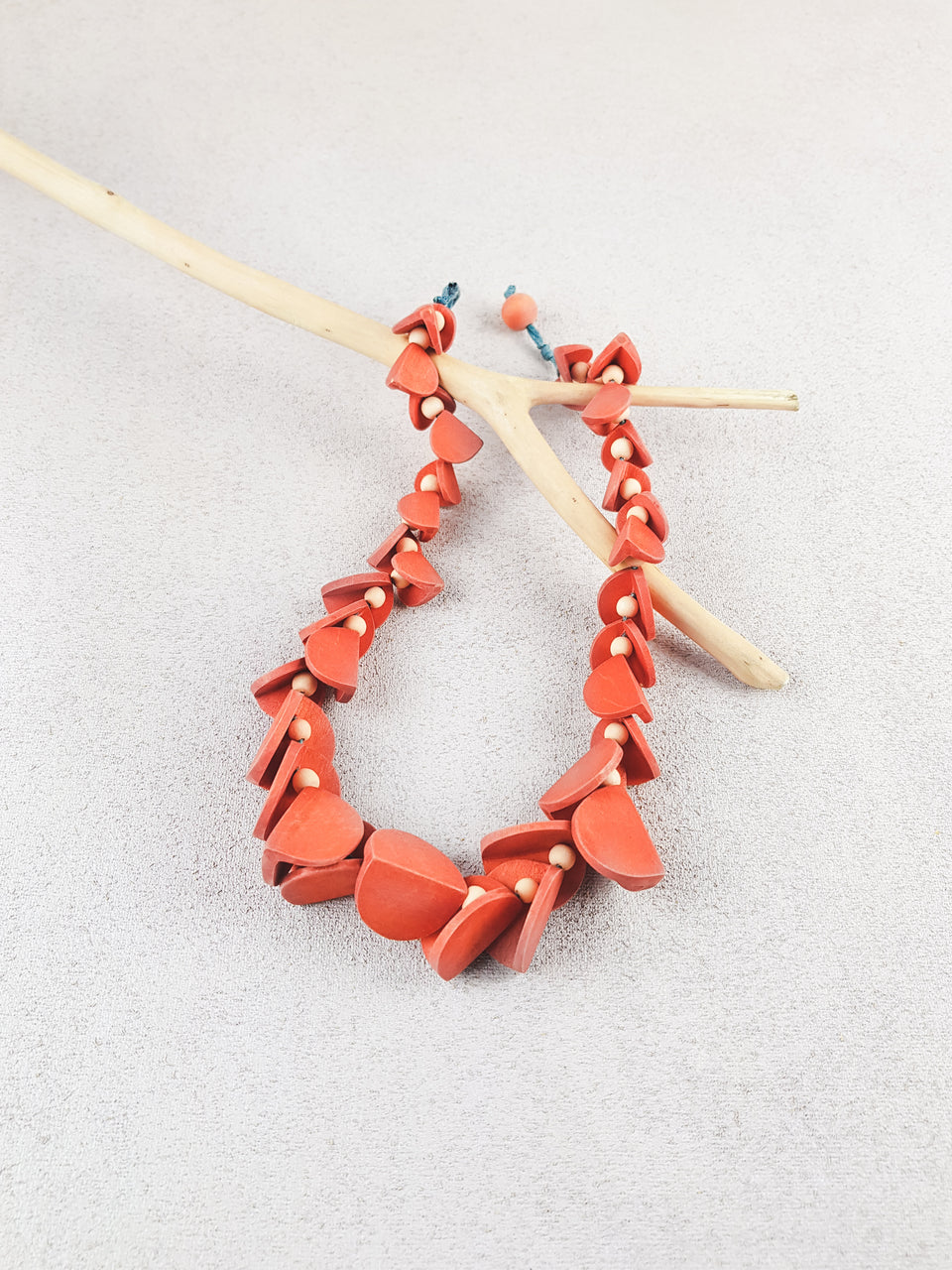 Red handmade wood geometric shape short statement necklace