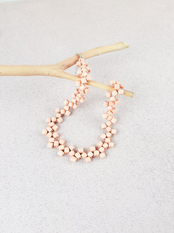 Pink handmade wood woven beads statement earrings