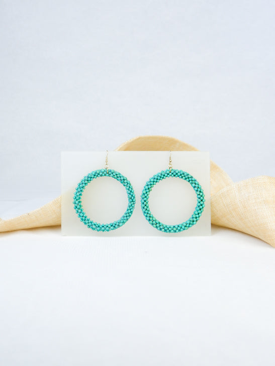 Mint handmade round hoop woven wood beads tropical statement dangling fish hook earrings