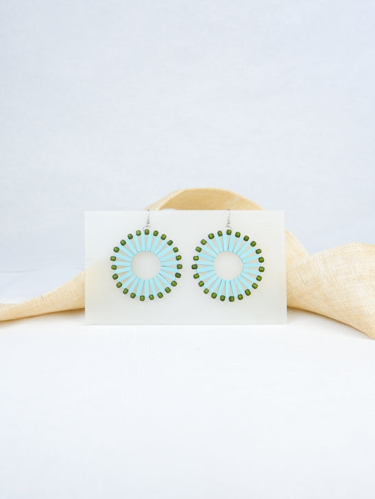 Sky blue handmade wood woven beads round shaped tropical statement dangling fish hook earrings