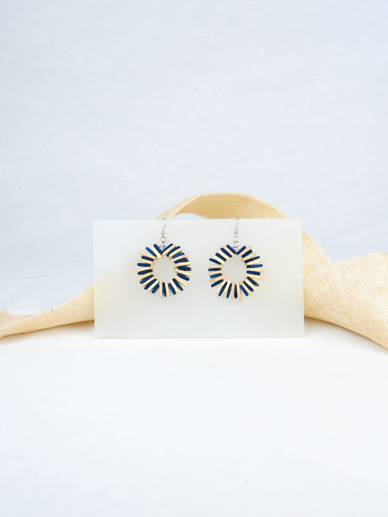 Blue handmade wood geometric shape tropical statement dangling fish hook earrings