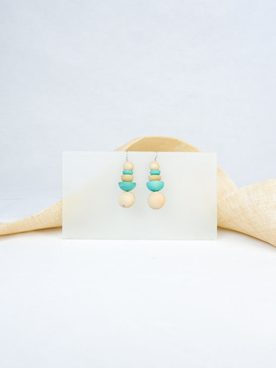Natural and mint handmade wood beads tropical statement dangling fish hook earrings