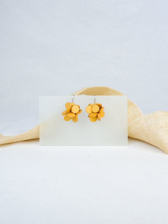Yellow handmade wood fish hook mini cluster statement dangling earrings