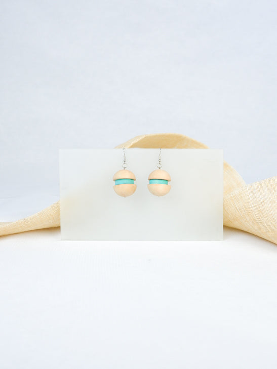 Natural handmade wood burger shaped statement tropical dangling earrings