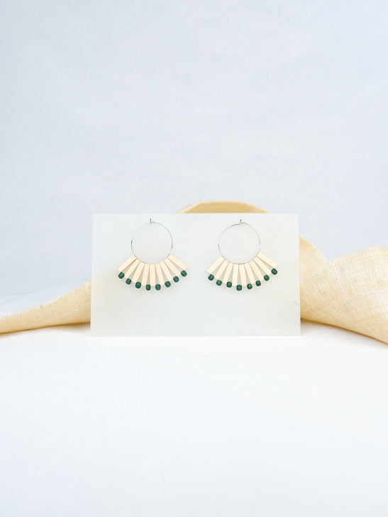 Natural and green handmade wood statement earrings