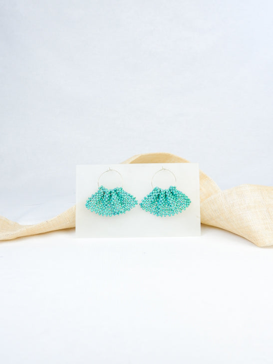 Mint handmade wood woven statement earrings