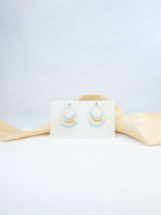 Sky Blue handmade wood ear post beads tropical statement dangling earrings