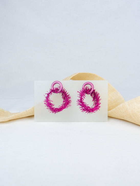 Lavender handmade wood and rubber ear post contemporary  unique tropical statement dangling earrings