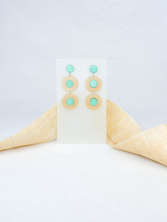 Mint handmade wood and acrylic ear post round tropical statement dangling earrings
