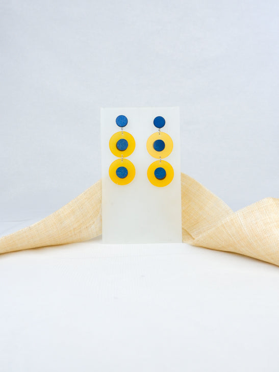 Blue and Yellow handmade wood and acrylic ear post round tropical statement dangling earrings