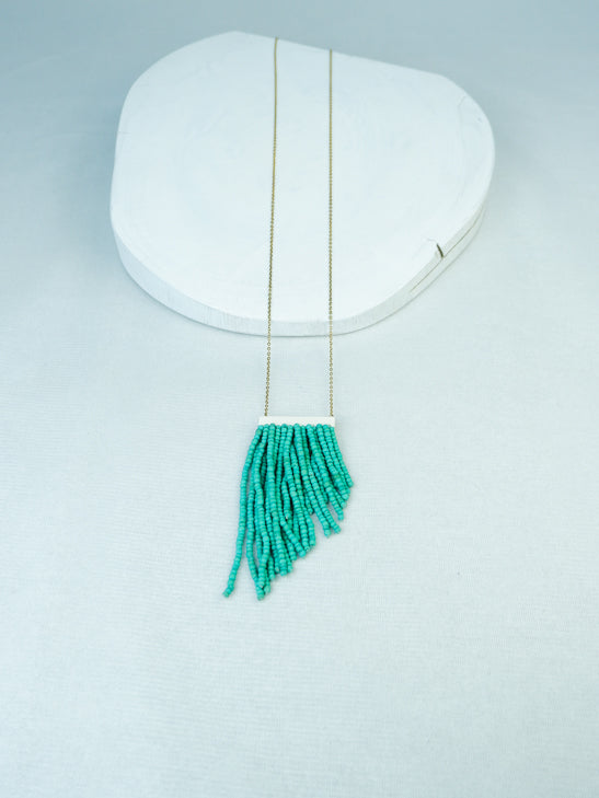handmade wood bead fringe pendant on gold plated chain necklace in Mint