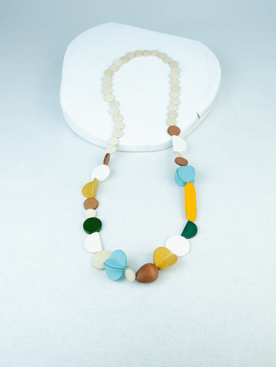 Handmade geometric wood and acrylic long necklace in Yellow multi