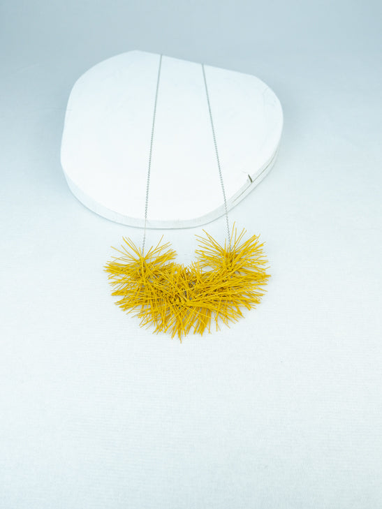 handmade elastic rubber fringe chain necklace in yellow