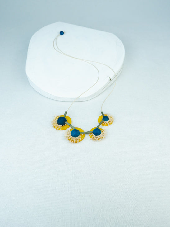 handmade mix media flower necklace in Blue
