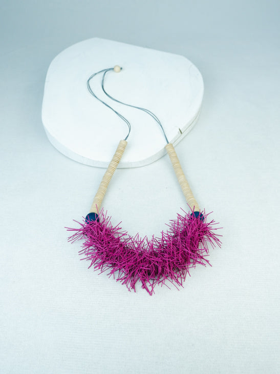 handmade wood and elastic fringe adjustable necklace in purple