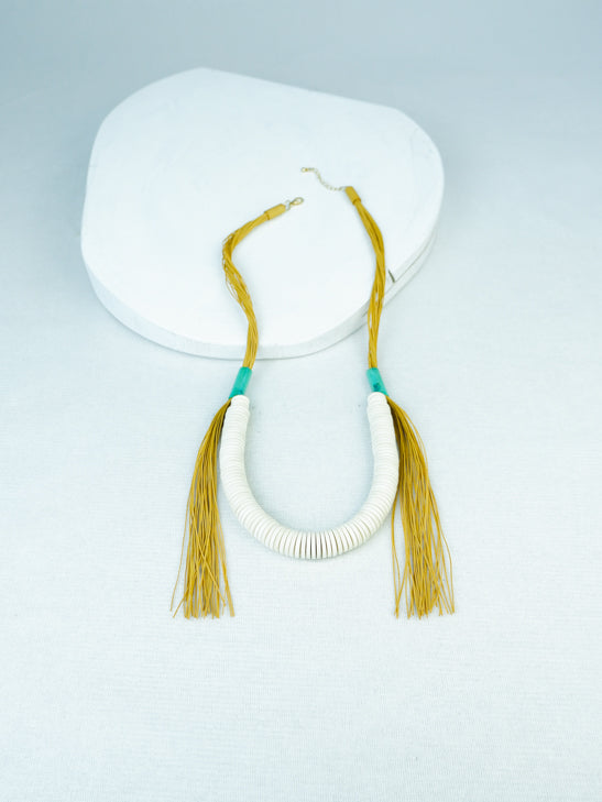 handmade wood and rubber fringe necklace in Yellow