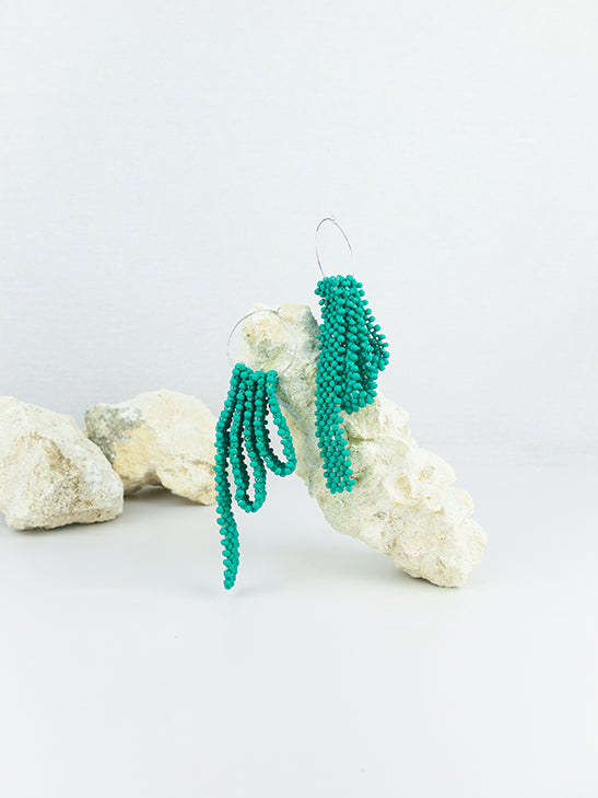 Mint handmade wood hoop woven beads statement dangling earrings