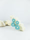 Blue handmade acrylic and wood ear post geometric shape statement dangling earrings