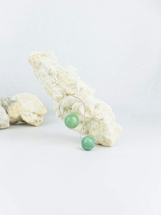 Green handmade shell beads hoop statement dangling earrings