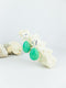 Mint handmade shell ear post tear drop statement dangling earrings
